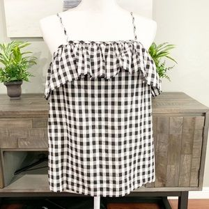 A New Day plaid black and white top